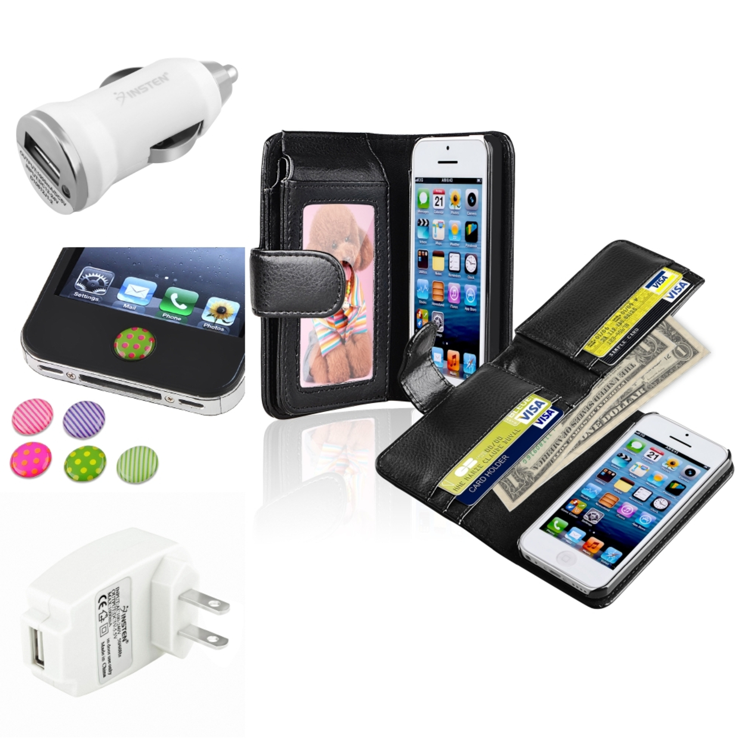 Insten Black Wallet Leather Case with Card Slot White Home Car Charger Sticker For Apple iPhone 5C