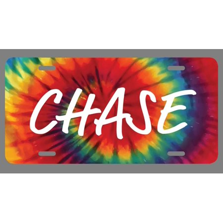 Chase Name Tie Dye Style License Plate Tag Vanity Novelty Metal | UV Printed Metal | 6-Inches By 12-Inches | Car Truck RV Trailer Wall Shop Man Cave | NP1646
