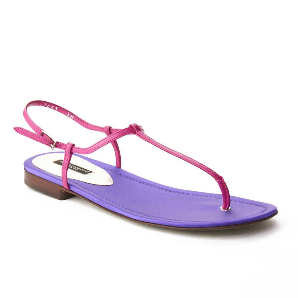 Dolce & Gabbana Women's T-Strap Sandal Shoes Purple Pink