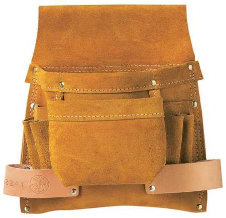 Klein Tools Pouch, Nail/Screw & Tool, Split-Leather, Brown, 42241