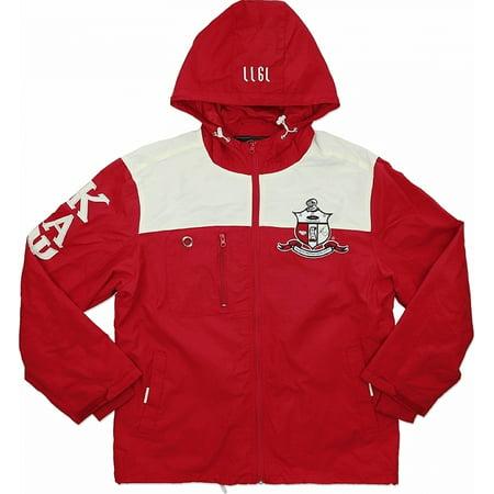 Big Boy Kappa Alpha Psi Divine 9 S5 Hooded Mens Windbreaker Jacket [Crimson Red -