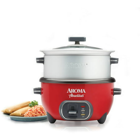 aroma 20 cup cooked spanish rice cooker with xl steamer red. Black Bedroom Furniture Sets. Home Design Ideas