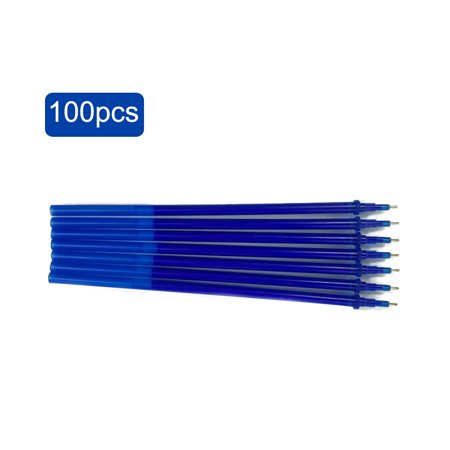 0.5mm Erasable Gel Ink Pen Refill School Office Full Needle Erasable Gel Ink Pen Replacement Blue 100Pcs (Pen Refills Ink Pens)