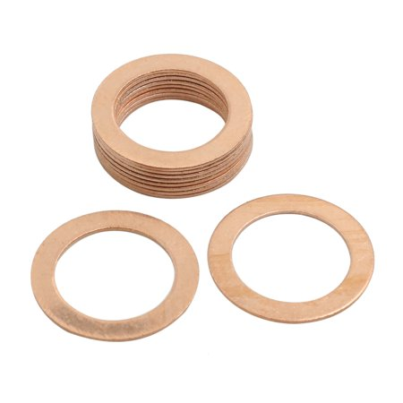 10 Pcs 22mm Inner Diameter Flat Copper Washers Parts Sealing Gasket Fitting - image 1 de 3