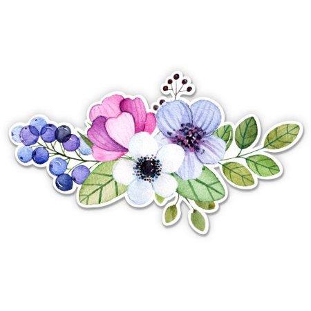 Flower Bouquet Watercolor Boho Colorful - Vinyl Sticker Waterproof Decal Sticker 5