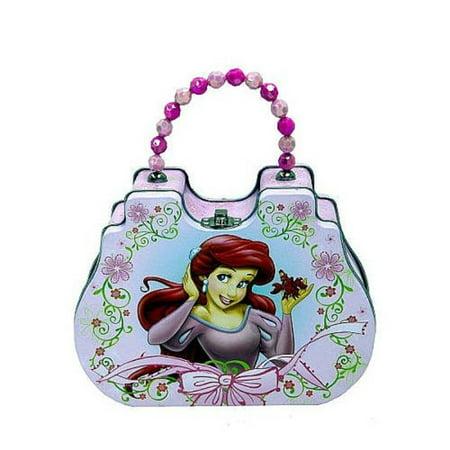 Princess Ariel Little Mermaid Tin Clutch Purse with Beaded Handle - Pink (Beaded Handle Bag)