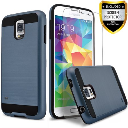 Galaxy S5 Case, 2-Piece Style Hybrid Shockproof Hard Case Cover with [Premium Screen Protector] Hybird Shockproof And Circlemalls Stylus Pen (Ink Blue) ()