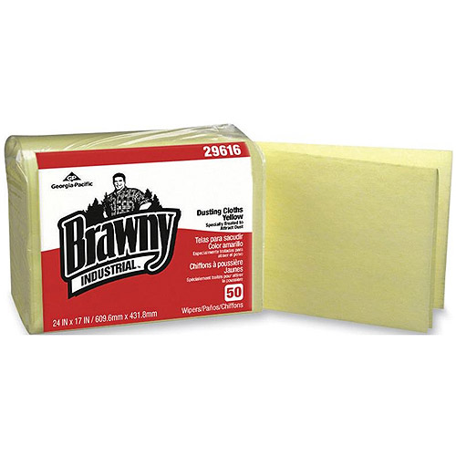 Brawny Industrial Dusting Cloths, Yellow, 50 count