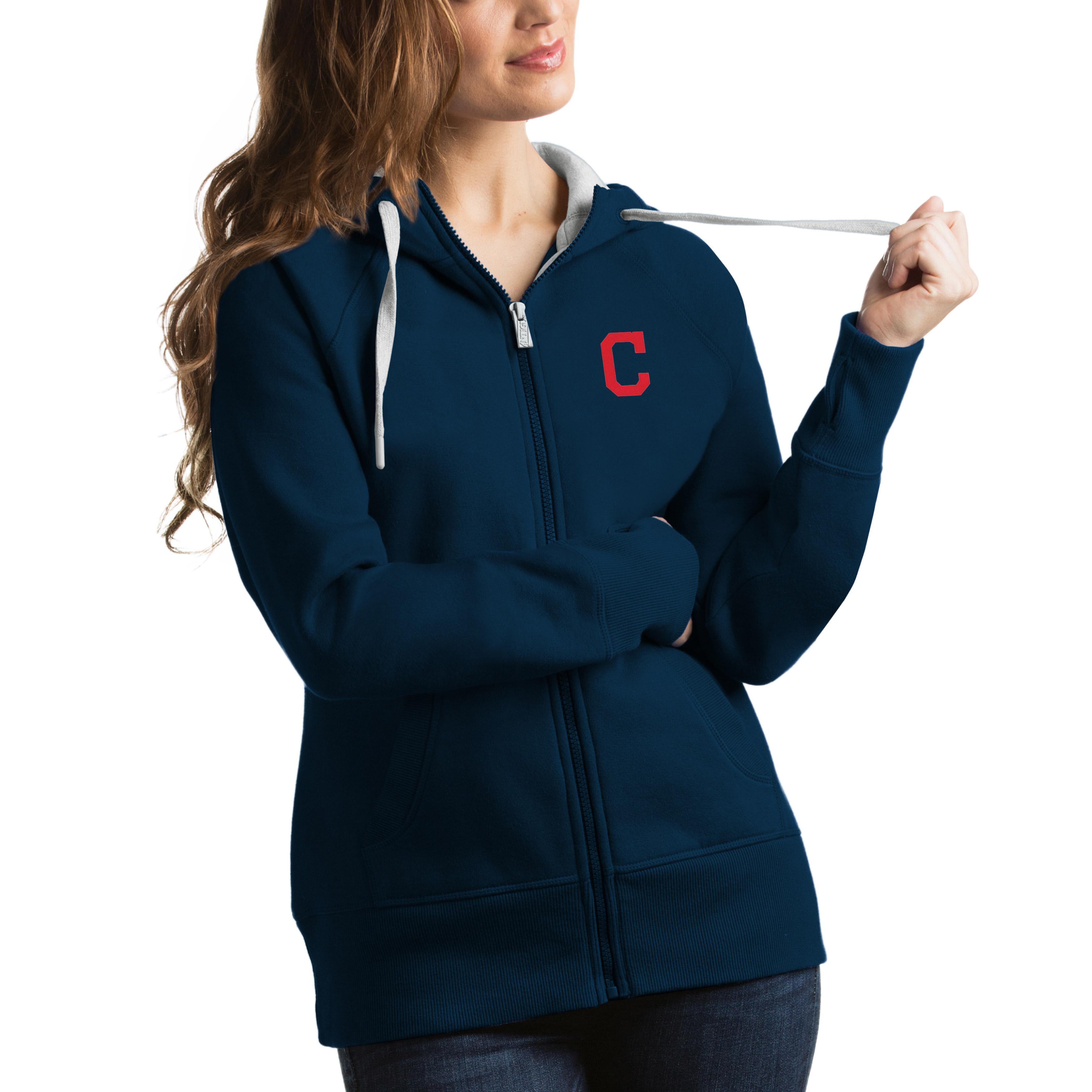 Cleveland Indians Antigua Women's Victory Full-Zip Hoodie - Navy