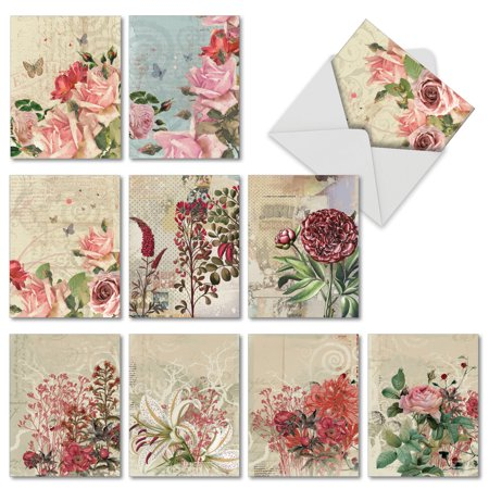 'M2988OCB BOTANICAL COLLAGES' 10 Assorted All Occasions Note Cards Featuring Vintage Style Floral Collages, with Envelopes by The Best Card -
