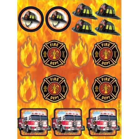 Club Pack of 48 Fire Watch Flame, Truck, Crest and Firefighter Helmet Sticker Sheets