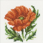 "RTO Poppy Flower Counted Cross-Stitch Kit, 4"" x 4"", 14 Count"