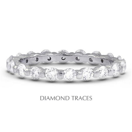 Diamond Traces UD-EWB102-8374 Platinum 950 Bar Setting, 1.51 Carat Total Natural Diamonds, Classic Eternity Ring