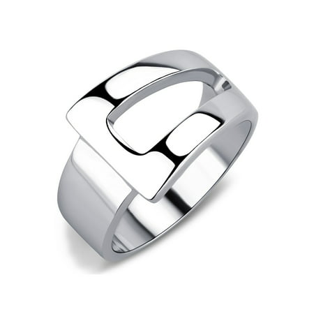 Designer Style High Polished Stainless Steel Fashion Womens Wide Band Ring - Size 6