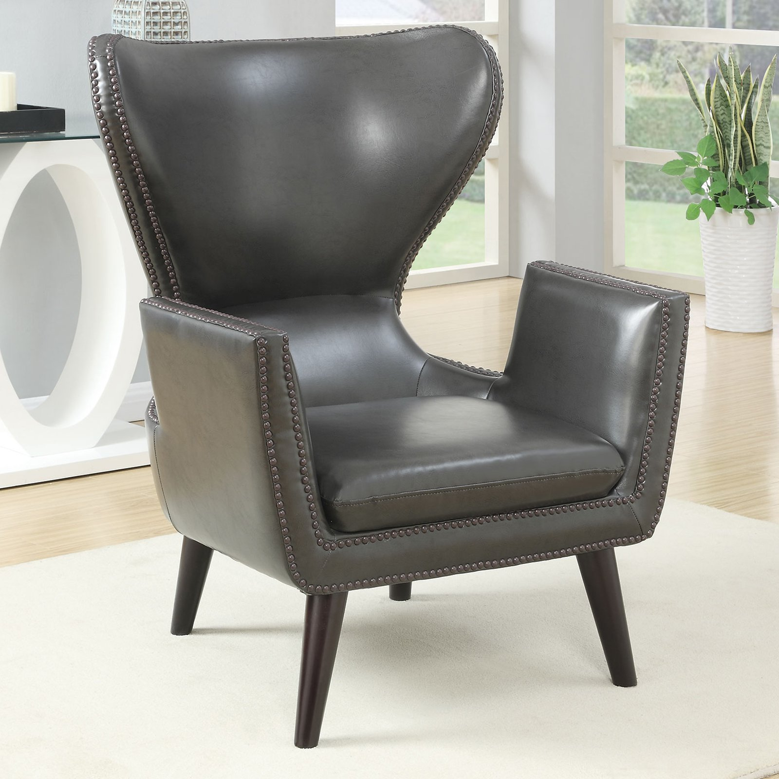 Coaster Company Accent Chair, Charcoal Leatherette, Dark Brown