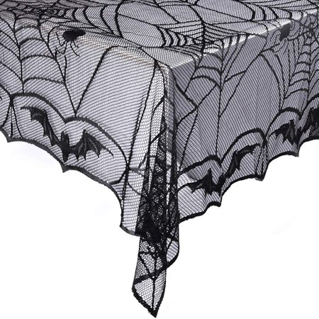 eZAKKA Halloween Black Spider Web Lace Tablecloth Rectangular 48 x 96 inch Polyester Spooky Bat Lace Tablecover for Gothic Halloween Party Home - Gothic Halloween Decorations