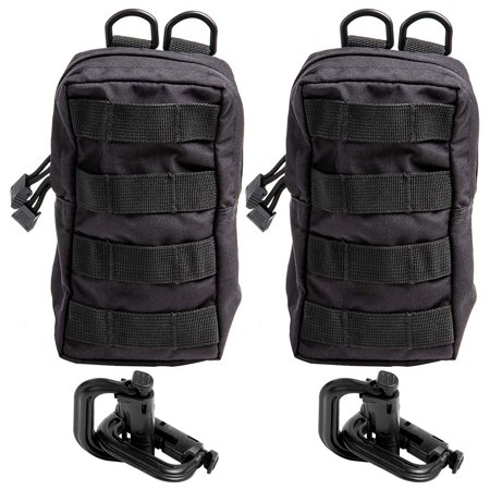 Black Utility Belt (2-Pack Molle Pouches With 2 D Rings, Tactical Edc Belt Waist Storage, Waterproof And Lightweight For Utility, Gadget, Military Gear, Black, 7.5 X 4.2 X 2)