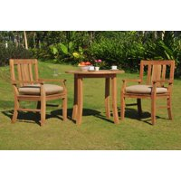 "3 PC A Grade Outdoor Patio Teak Dining Set - 36"" Round Table & 2 Osawa Arm Chairs"