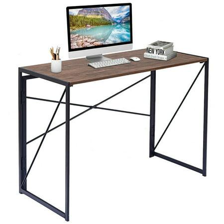 Writing Computer Desk X Shape Folding Study Laptop Table Home Office Light Wood Dark Brown