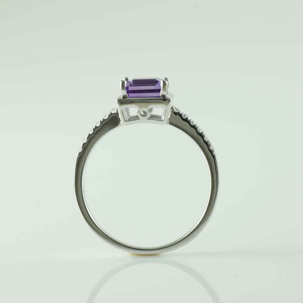 1/2 CTW Round Purple Amethyst Cocktail Ring in .925 Sterling Silver - Size 6 (MDS170154) - image 1 de 2