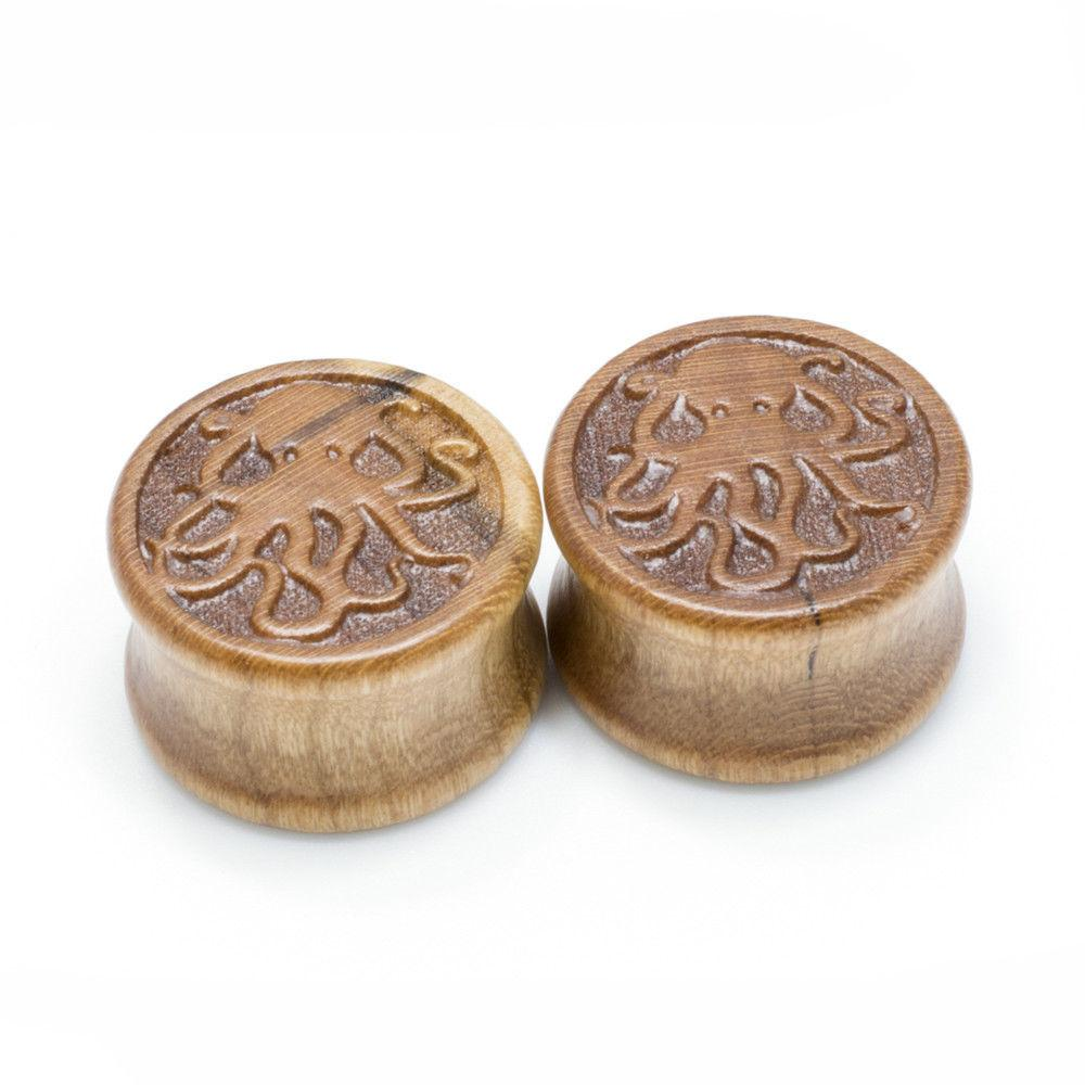 Octopus Saddle-Fit Ear Plugs Organic Cherry Wood Hand-Carved Octopus Design