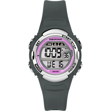 Women's Digital Mid-Size Gray/Pink Watch, Resin - Gray Girls Watch