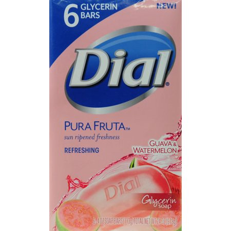 Dial Pura Fruta Guava & Watermelon Refreshing Glycerin Bar Soap, 4 oz, 6 count