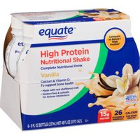 Equate vanilla high protein nutritional shakes, 8 Fl Oz, 6 Ct