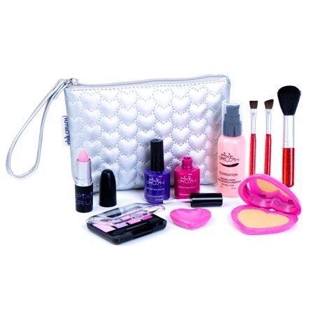 PixieCrush Pretend Play Makeup Kit. Designer Girls Hearts Essential Bag Set