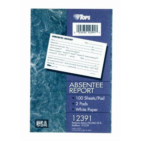 Tops TOP12391 Bloc-rapport d'absent-isme, 6 po x 4 po, 2 pintes, encre blanche-bleue - image 2 de 3