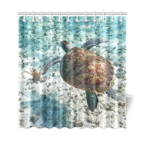 GCKG Ocean Turtle In Nature Of Caribbean Sea Shower Curtain Underwater World Animal Polyester Fabric Bathroom Sets With Hooks 66x72 Inches