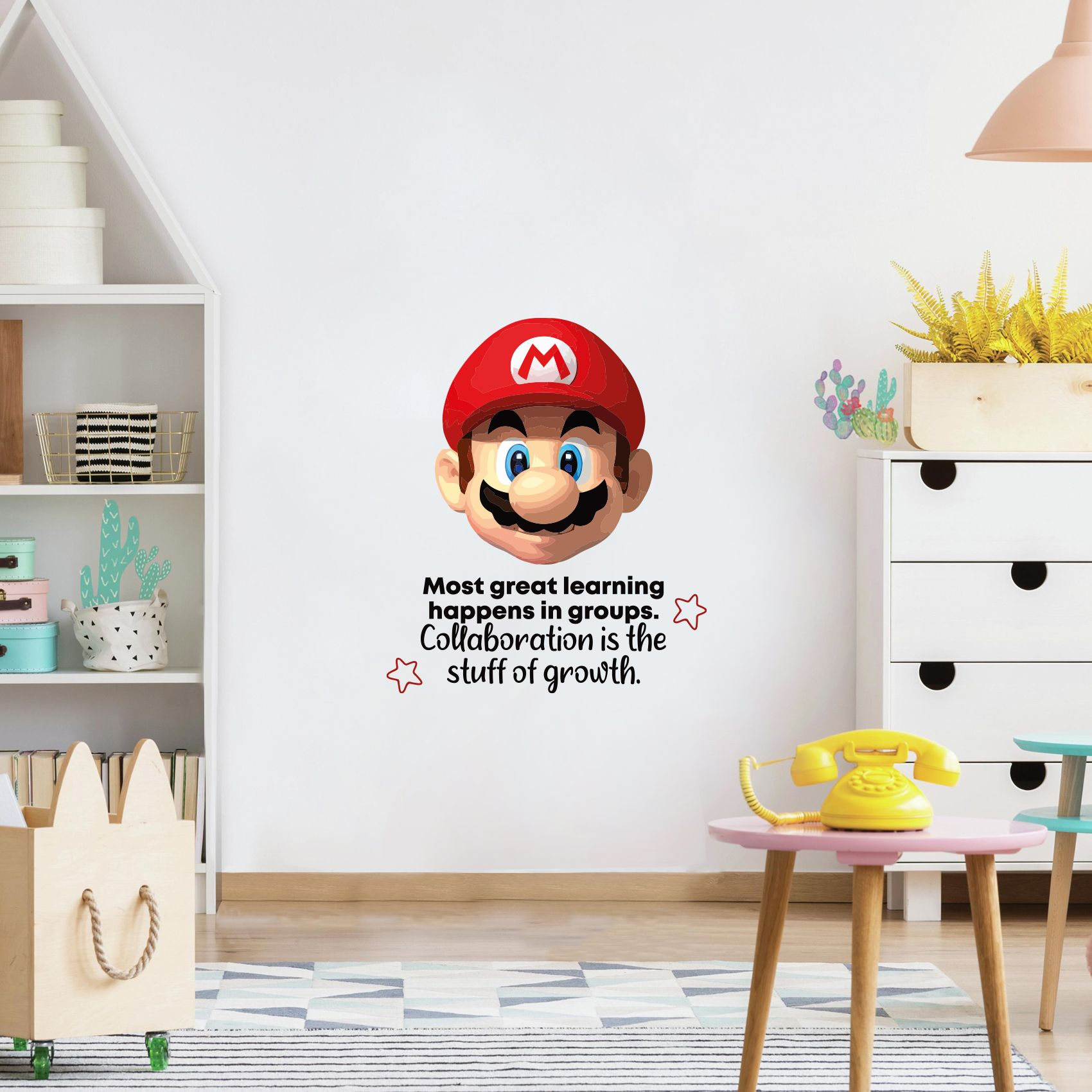 Great Learning Mario Game Life Quote Cartoon Quotes Decors Wall Sticker Art Design Decal For Girls Boys Kid Room Bedroom Nursery Kindergarten Home Decor Stickers Wall Art Vinyl Decoration 20x18 Inch
