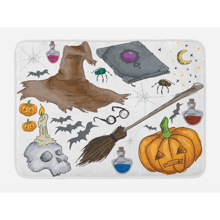 Halloween Bath Mat, Magic Spells Witch Craft Objects Doodle Style Illustration Grunge Design Skull, Non-Slip Plush Mat Bathroom Kitchen Laundry Room Decor, 29.5 X 17.5 Inches, Multicolor, Ambesonne - Bath Uni Halloween