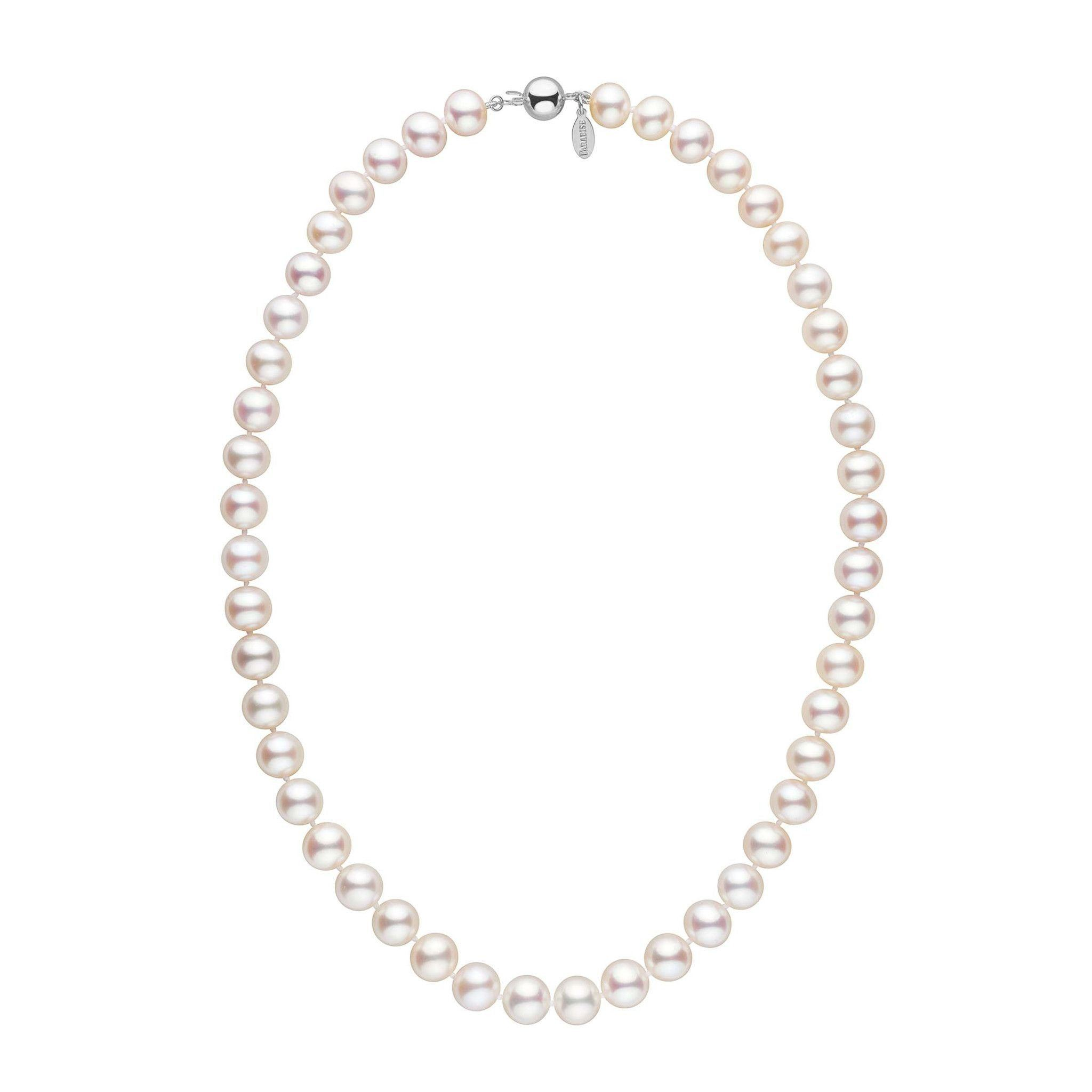 9.0-9.5 mm White Freshadama Freshwater Pearl Necklace by Pearl Paradise