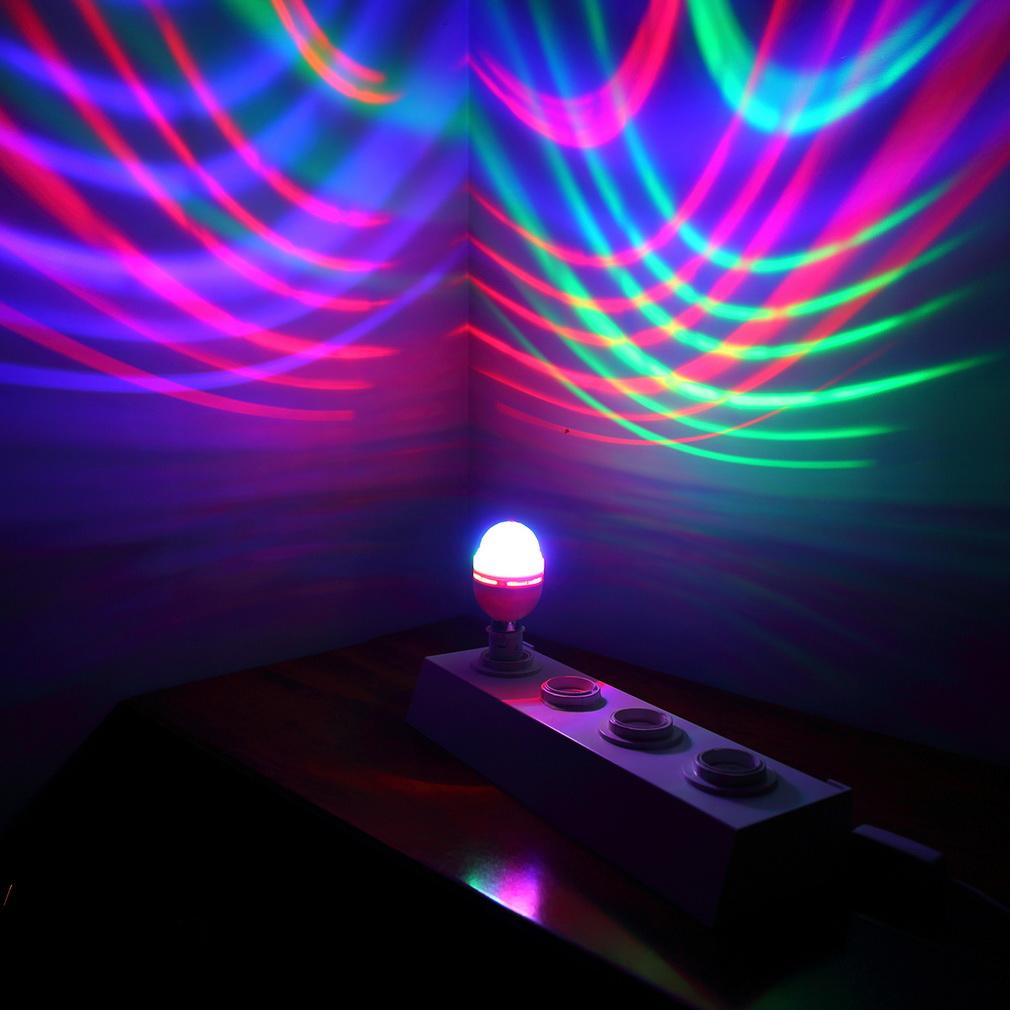 B22 3W RGB Crystal Ball Stage Light RGB LED Rotating Lamp Party Disco DJ by
