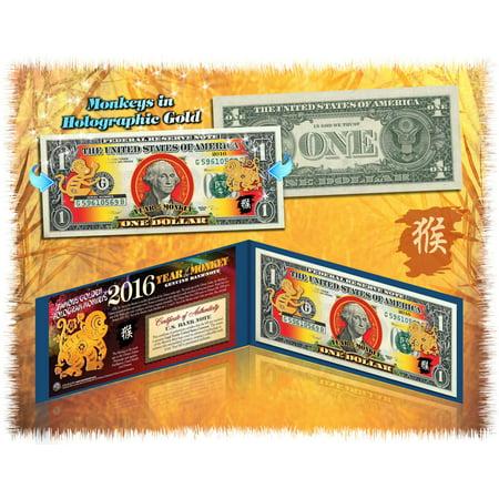 2016 Chinese CNY Lucky Money YEAR OF MONKEY Gold Hologram $1 BILL in Blue Folio (Year Monkey)