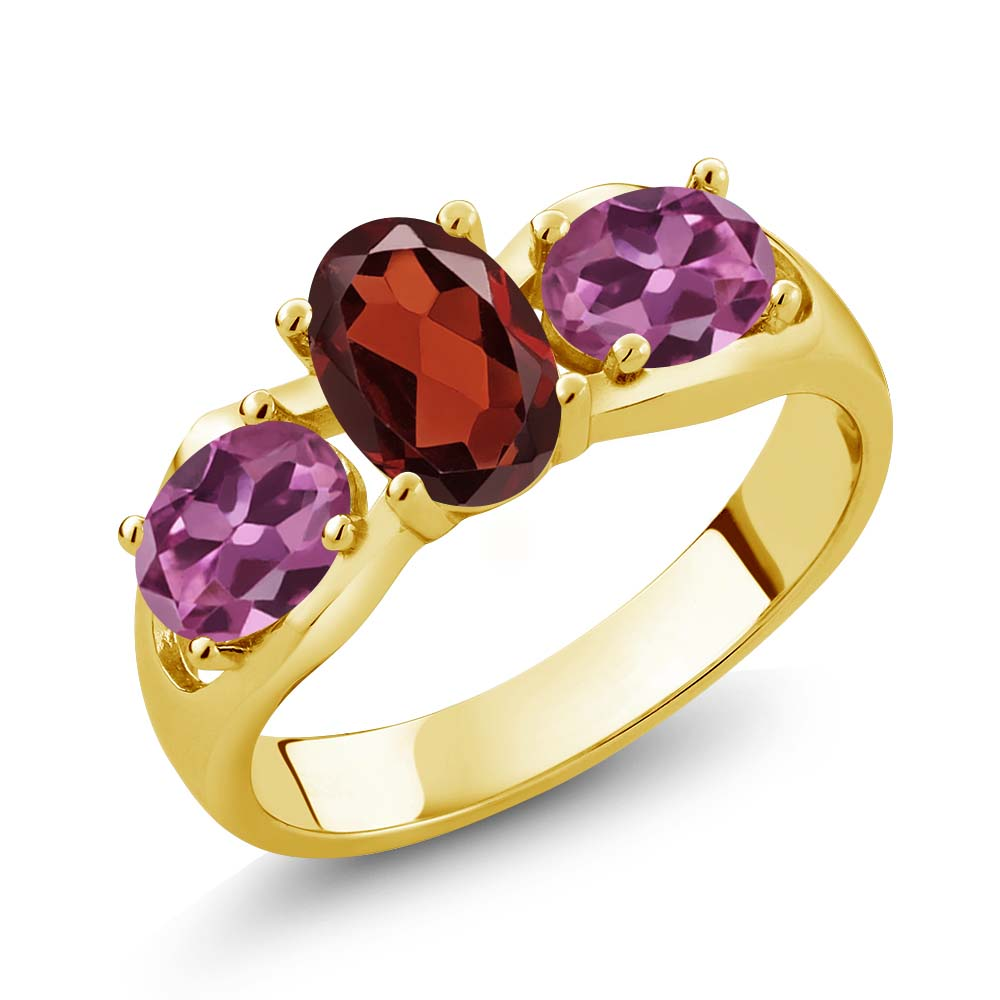 1.90 Ct Oval Red Garnet Pink Tourmaline 14K Yellow Gold Ring by