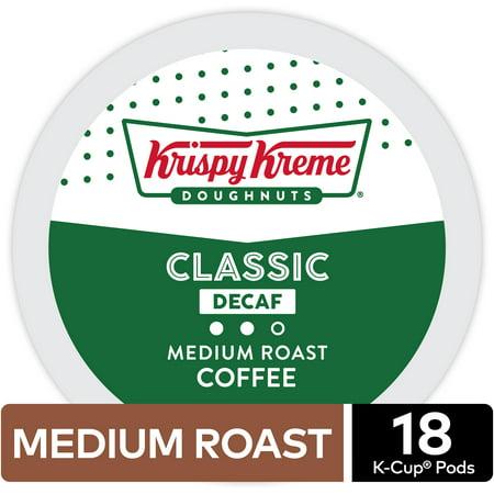 Krispy Kreme Decaf K-Cup Coffee Pods, Medium Roast, 18 Count for Keurig