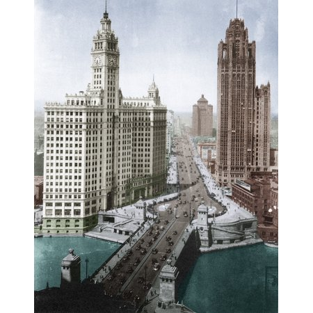 Chicago Skyscrapers C1925 Nskyscrapers On The Michigan Avenue Bridge At Left Is The Wrigley Building Completed In 1924 And At Right Is The Chicago Tribune Tower Completed In 1925 Photograph Digitally
