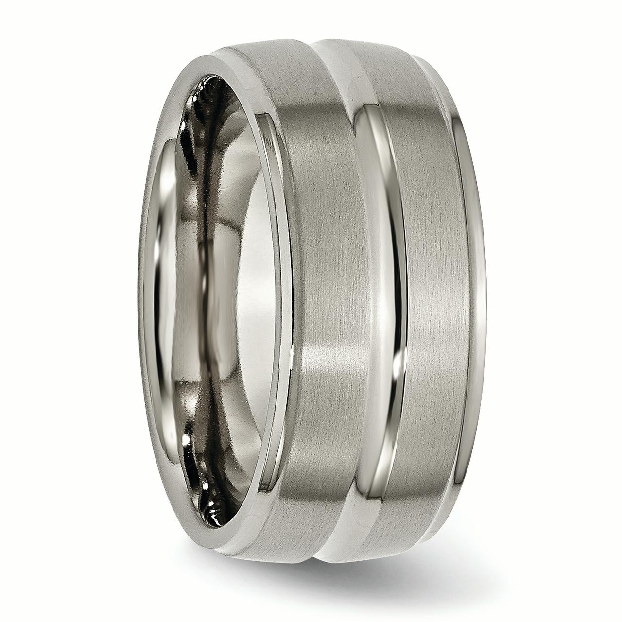 Titanium Grooved Ridged Edge 10mm Brushed Wedding Ring Band Size 13.50 Fashion Jewelry Gifts For Women For Her - image 3 de 6