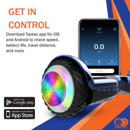 Gyrocopters PRO 6.0 Off-Road Hoverboard - UL 2272, Bluetooth, LED wheels, APP, No Fall Technology, Front and Back lights, Bag (Chrome Blue) - image 8 of 9