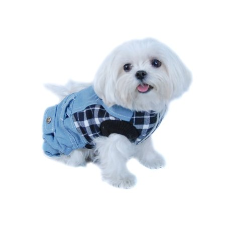 Blue/White Plaid Top with Denim Overalls Puppy Dog Clothing Clothes Pet Outfit (One-Piece) Apparel - Small (Gift for Pet)