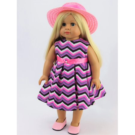Chevron Pattern Dress with Hat -Fits 18