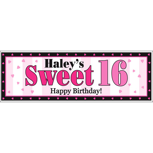 Personalized Sweet 16 Birthday Banner, 6' Long Oversized