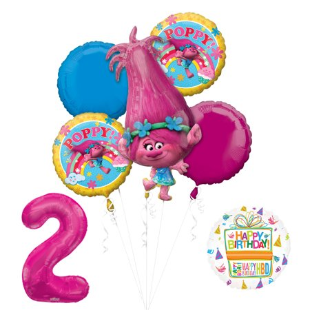 NEW TROLLS POPPY 2nd Birthday Party Supplies And Balloon Bouquet Decorations - 2nd Birthday Ideas