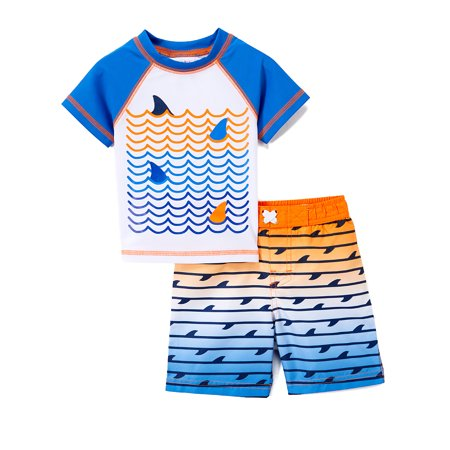 Toddler Boys Bathing Suit (Freestyle Revolution Shark Rashguard & Swim Trunks, 2pc Set (Baby Boys & Toddler Boys))