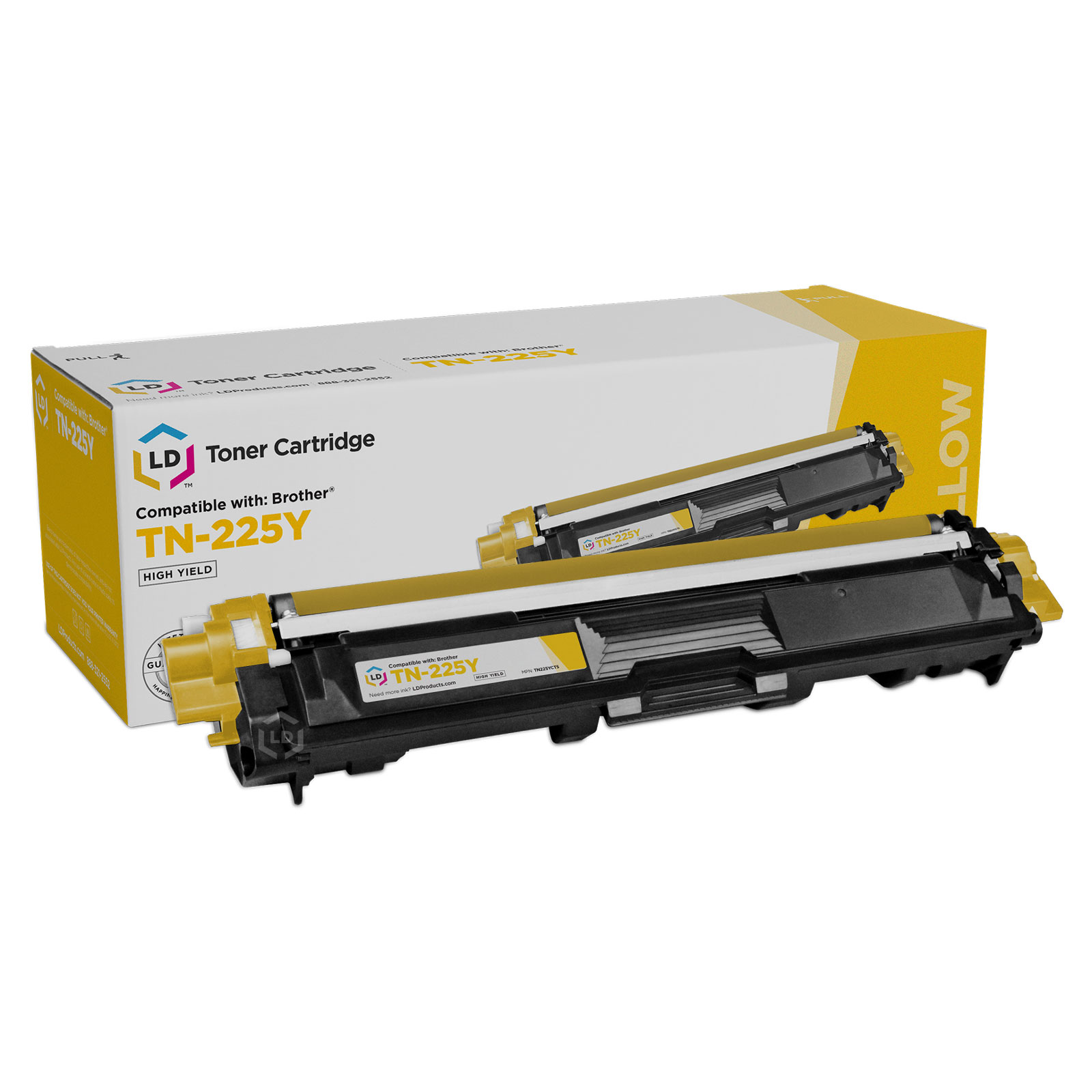 LD © Compatible Replacement for Brother TN225Y High Yield Yellow Laser Toner Cartridge for use in Brother HL-3140CW, HL-3170CDW, MFC-9130CW, MFC-9330CDW, and MFC-9340CDW Printers