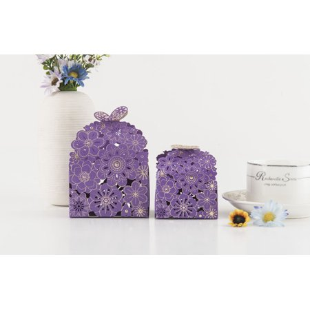 Delicated Hollow Flower Wedding Day Favor Gift Box Candy Bomboniere Wedding Party Butterfly (Bomboniere Boxes)