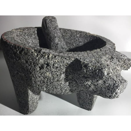 Made in Mexico Genuine Mexican Manual Guacamole Salsa Maker Volcanic Lava Rock Stone Molcajete/Tejolote Mortar and Pestle Herbs Spices Grains Front Pig (Best Mortar And Pestle For Grinding Spices)