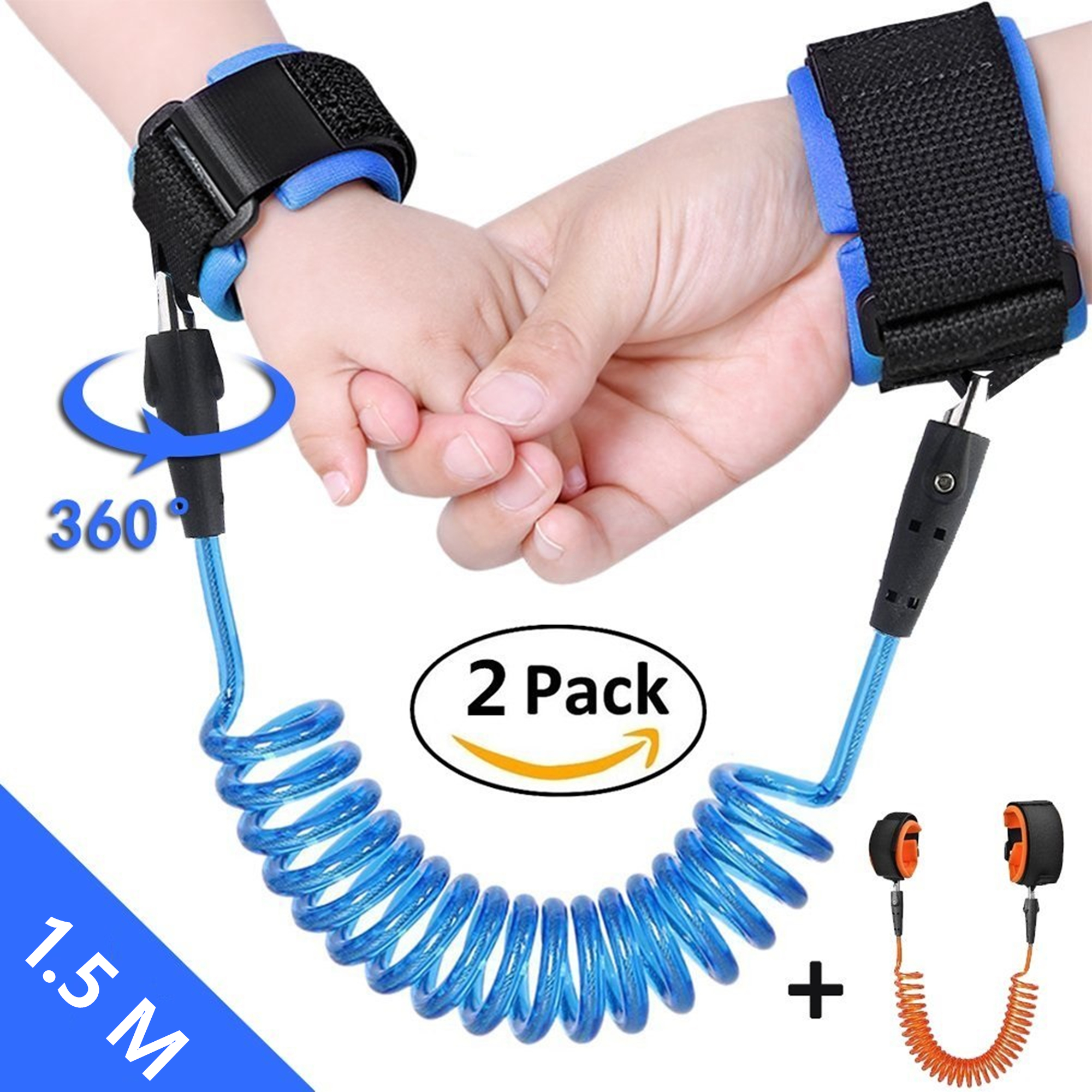 2 Pack Moretek Child Anti Lost Safety Harness Link, Adjustable Skin Friendly Anti Lost Belt Wrist Safe Link Wrist Straps for Babies Kids Toddlers Runners(1.5m, Blue+Orange)